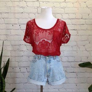 Sheer Open Lace T-Shirt